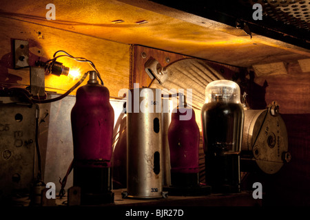 Vacuum tubes of an old radio - Stock Image