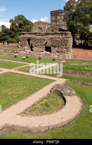 Ruins of Roman Baths, Jewry Wall Museum, Leicester, England, UK - Stock Image
