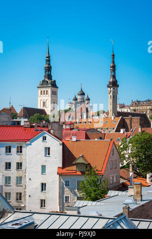 Tallinn skyline, view on a summer afternoon of the medieval Old Town quarter in Tallinn, Estonia. - Stock Image