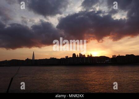 Sunset, River Thames, London, UK - Stock Image