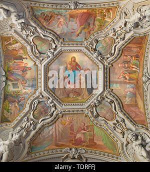 MENAGGIO, ITALY - MAY 8, 2015: The neobaroque ceiling fresco of Madonna of Rosary  in church chiesa di Santo Stefano by Luigi Tagliaferri (1841-1927). - Stock Image