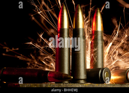 Assault rifle cartridges - Stock Image
