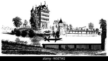 Weiherhaus Gleishammer near Nuremberg, ,  (cultural history book, 1875) - Stock Image