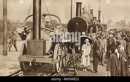 Centenary of British Rail Transportation Pageant - Stockton and Darlington Railway - visit by the Duke and Duchess of York - July, 1925.     Date: 1925 - Stock Image