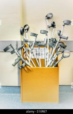 Hospital walking sticks / crutches - Stock Image