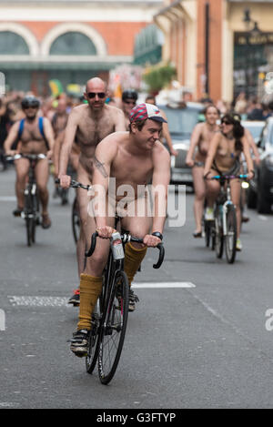 London, UK. 11th  June, 2016. Naked bike riders taking part in the World Naked Bike Ride near Covent Garden, London, - Stock Image