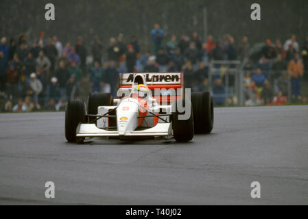 1993 European Grand Prix, Donington. Ayrton Senna, McLaren Ford MP4-8 - Stock Image