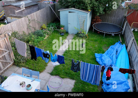 Back garden of a new build home in Cardiff, Wales UK  KATHY DEWITT - Stock Image
