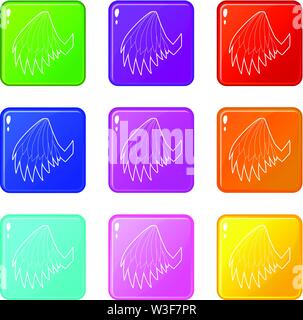 Angelic wing icons set 9 color collection - Stock Image