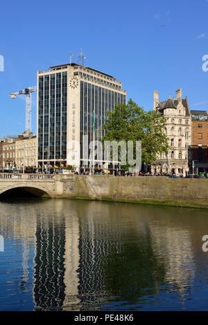 Heineken Building, O'Connell bridge, River Liffey, Temple Bar area, Dublin, Ireland 180621_68458 - Stock Image