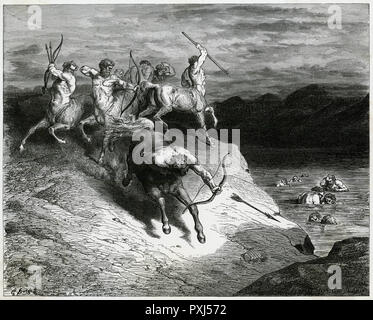 A band of Centaurs seen by Virgil and Dante in the course of their tour of Inferno - Stock Image