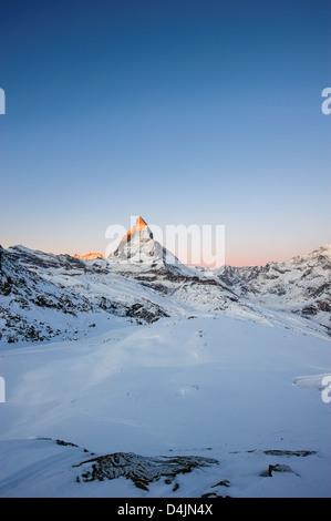 Matterhorn at sunrise, view from Gornergrat, Zermatt, Valais, Switzerland - Stock Image