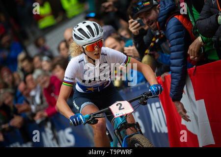 Jolanda Neff of Switzerland competes at the XC women race of the UCI MTB World Cup in Albstadt, Germany, May 19, 2019. (CTK Photo/Michal Cerveny) - Stock Image