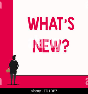 Conceptual hand writing showing What S New Question. Concept meaning Asking about latest Updates Trends Happening News Man stands in back view in fron - Stock Image