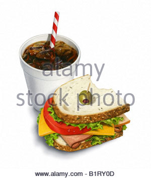 Sandwich and Soda - Stock Image