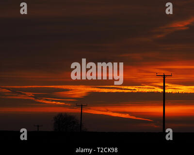 Barton Hills, Bedfordshire, UK. 1st Apr 2019. Gorgeous First Sunset of April over Barton Hills Nature Reserve in Bedfordshire, England, UK. Credit: Parmorama/Alamy Live News - Stock Image