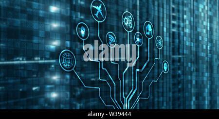 IOT. DIgitalization, Digital disruption background matrix information technology and internet concept - Stock Image