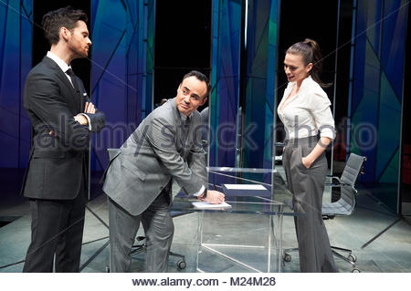 Dry Powder by Sarah Burgess. A Hampstead Theatre Production directed by Anna Ledwich. With Tom Riley as Seth, Joseph - Stock Image