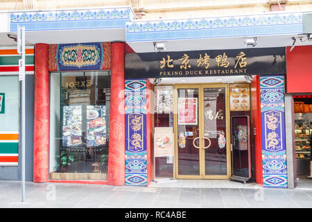 Melbourne, Australia - 21st February 2018: Peking Duck Chinese restaurant in Chinatown.  It is the longest continuous settlement in the Western world. - Stock Image