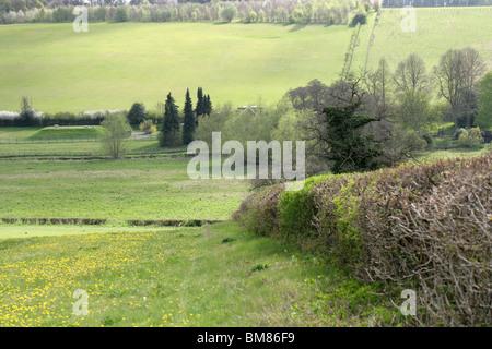 View Across the Chess Valley in Spring, Sarratt Bottom, Hertfordshire, UK - Stock Image