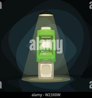 green color atm in light ant night - Stock Image