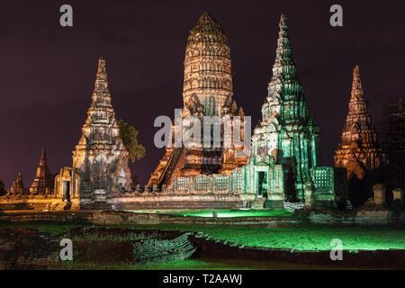 Ruins of Wat Chaiwatthanaram at night in Ayutthaya, Thailand. - Stock Image