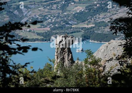 'Les Demoiselles Coiffees' rock formation at Sauze le Lac, France - Stock Image