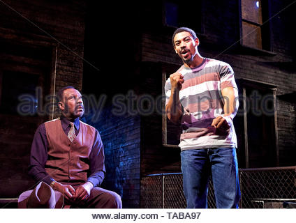 King Hedley II by August Wilson, directed by Nadia Fall.With Lenny Henry as Elmore, Aaron Pierre as King Hedley. Opens at Stratford East Theatre on 23/5/19 pic Geraint Lewis EDITORIAL USE ONLY - Stock Image