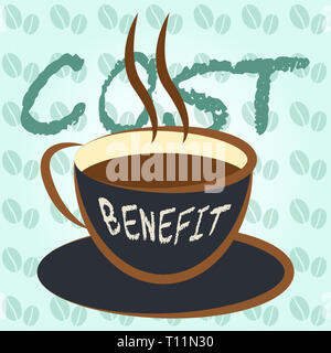 Cost Vs Benefit Coffee Means Comparing Price Against Value. Return On Investment Or Balancing Gain - 3d Illustration - Stock Image