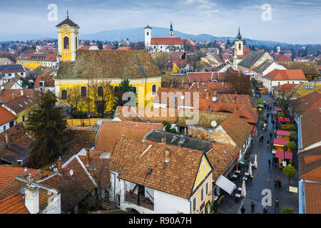 Szentendre, Hungary - Aerial skyline view of high-street Christmas market of Szentendre, the small and lovely riverside town in Pest County at winter  - Stock Image
