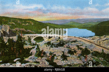 Donner memorial Bridge, Donner Lake, California, USA - Stock Image