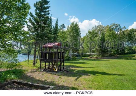 Children's play area at Skyport Lodge on Devil Track Lake, Grand Marais, Minnesota, USA. - Stock Image
