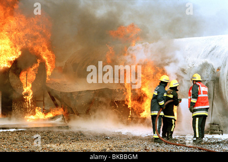 Airport firefighters practice - Stock Image
