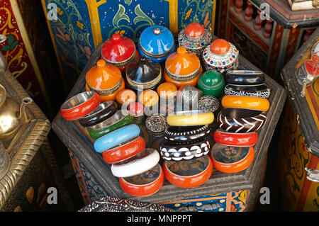 A display of traditioal products In the Souk the Street Market at Jemaa el Fnaa in the Medina Old City in the centre of Marrakech in Morocco. The Souk - Stock Image