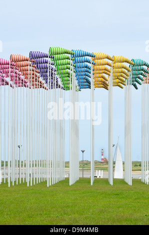 Art installation with windsocks in yacht port in Nieuwpoort, Belgium Title Le vent souffle où il veut from - Stock Image