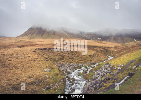 River Afon Sawdde and the Carmarthen Fans with the peak of Fan Brycheiniog enshrouded in clouds in the Brecon Beacons National Park, South Wales, UK - Stock Image