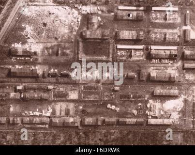 Germany Focke Wulf Works REconnaissance image after RAF bombing - Stock Image
