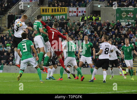Belfast, UK. 21st Mar 2019. National Football Stadium at Windsor Park, Belfast, Northern Ireland. 21 March 2019. UEFA EURO 2020 Qualifier- Northern Ireland v Estonia. Action from tonight's game. Credit: David Hunter/Alamy Live News. - Stock Image