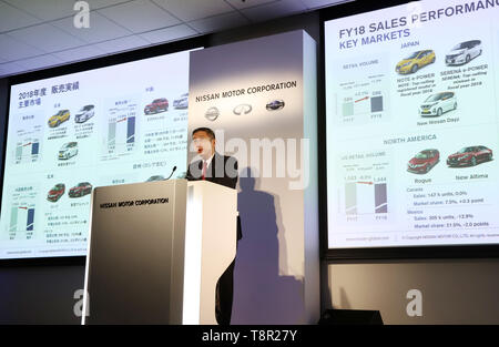 Yokohama, Japan. 14th May, 2019. Japan's automobile giant Nissan Motor president Hiroto Saikawa announces the company's financial result ended March 31 at the Nissan headquarters in Yokohama, suburban Tokyo on Tuesday, May 14, 2019. Nissan posted operating profit of 318.2 billion yen and net revenues of 11.57 trillion yen for the fiscal year 2018. Credit: Yoshio Tsunoda/AFLO/Alamy Live News - Stock Image