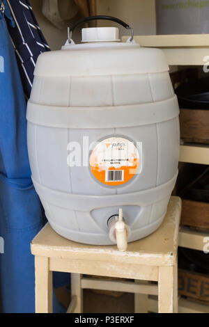 Plastic pressure barrel for home brew beer Woodforde's Wherry real ale kit, England, UK - Stock Image