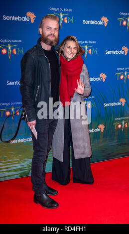 London, United Kingdom. 16 January 2019. Marius Jensen & Kara Tointon arrives for the red carpet premiere of Cirque Du Soleil's 'Totem' held at The Royal Albert Hall. Credit: Peter Manning/Alamy Live News - Stock Image