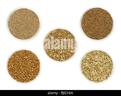 Bread spice mixture in the middle, surrounded by its single ingredients anise, caraway, coriander and fennel seeds in bowls. - Stock Image