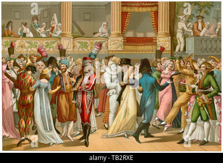 Costume ball at the Opera, Paris, early 1800s. Color lithograph - Stock Image