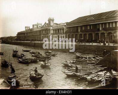 Collyer Quai, Singapore, by Gustave Richard Lambert - ca 1880 - Stock Image
