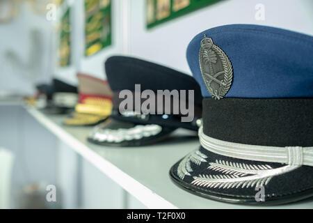 February 18, 2019 - Abu Dhabi, UAE: Generic Navy hat / army caps at the display - Stock Image