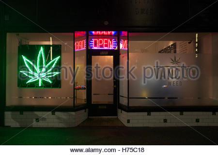Vancity, a medicinal marijuana dispensary store in Granville Street, Vancouver, BC, Canada. - Stock Image