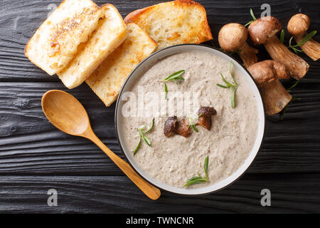 Thick soup puree of fresh wild mushrooms with thyme close up in a bowl served with toast on the table. horizontal top view from above - Stock Image