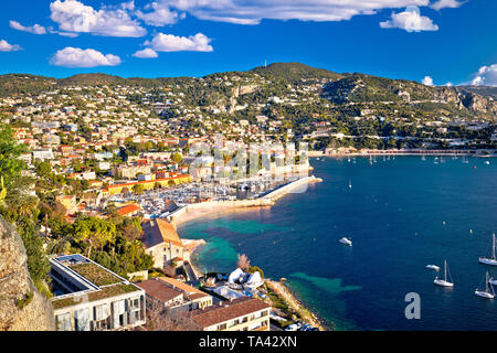 Villefranche sur Mer idyllic French riviera town aerial bay view, Alpes-Maritimes region of France - Stock Image