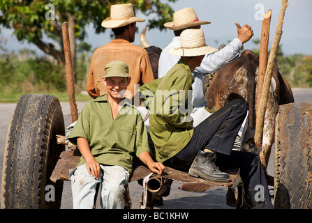 Cuban campesinos travelling on an ox drawn cart. Pinar del Rio Province, Cuba - Stock Image