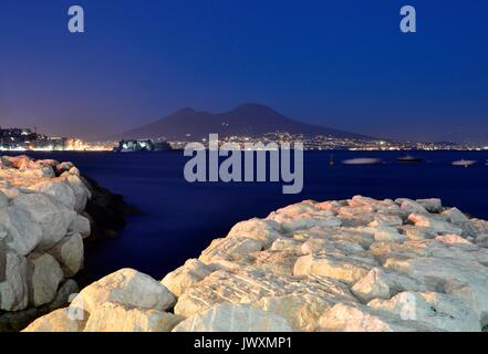 Mount Vesuvius and Bay of Naples from Mergellina port,Naples - Stock Image